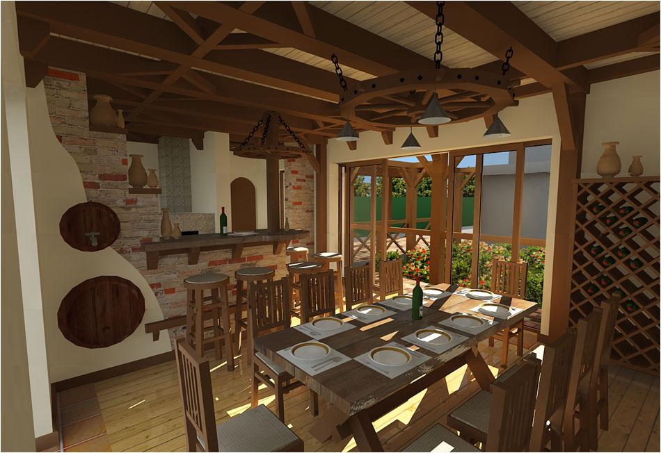 Дизайн интерьера гостиной в летнем гостевом домике в г. Чернигове